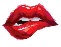 Biting lips vector art illustration