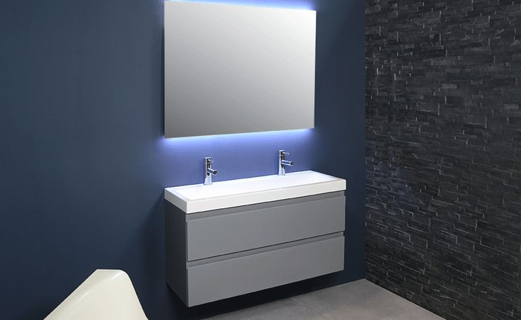 INK badkamermeubelen 40 DOCK greeploos gelakt  gelakt - dock - polystone - greeploos - badkamer - wastafel - ink - spiegelkast - badjas - sanibell - badmeubel - badkamermeubel