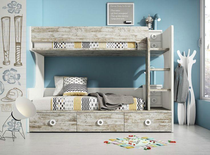 Design Stockbett mit Schubladen & Leiter in 32 Farben Hochbett Etagenbett