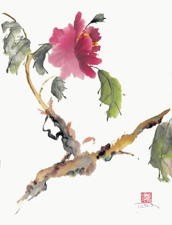 Chinese Brush Painting Original Abstract Watercolor Pink Peony