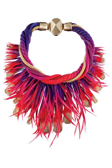 cord and feather necklace, dior