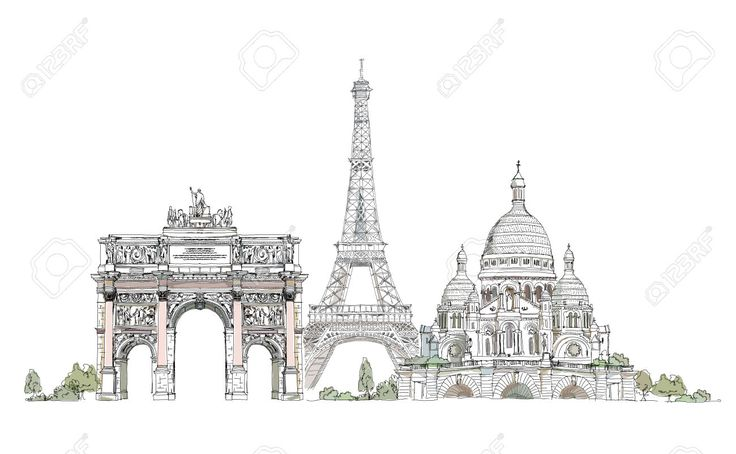Parigi Illustrazione, Sketch Arco Collezione Triumph, Torre Eiffel E Del Sacro Cuore A Montmartre Clipart Royalty-free, Vettori E Illustrator Stock. Image 26530765.