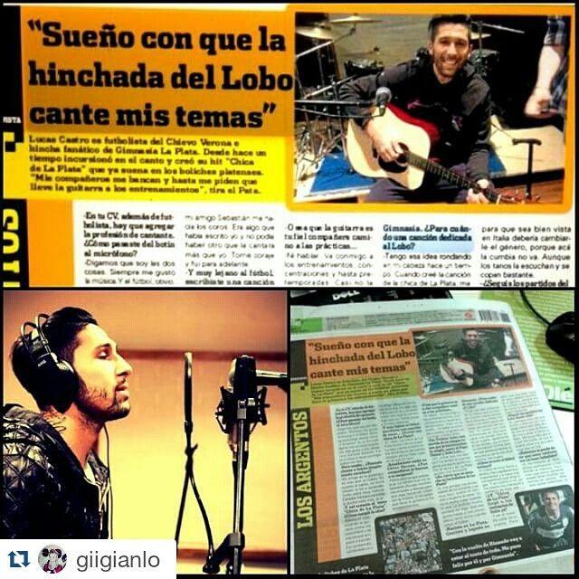 #LucasCastro Lucas Castro: #Repost @giigianlo ・・・ Nota con Lucas Castro en el diario Olé de hoy... #futbol #soccer #ball #happy #coke #Pata #GELP #Racing #Italia #guitarra #tattos #galaxy #feliz