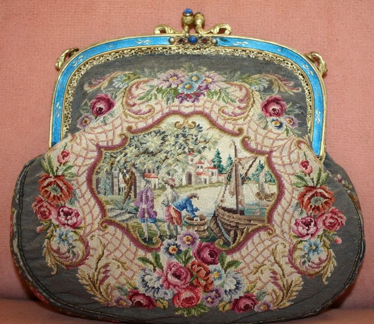 Beautiful c.1920's Fine Petit Point Purse With Jeweled and Enamel