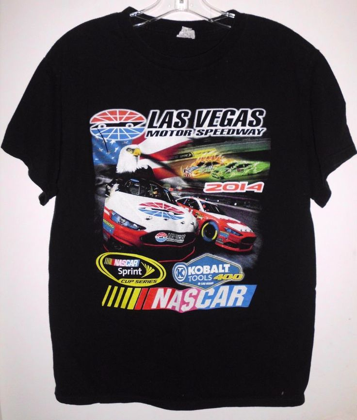 2014 NASCAR Las Vegas Motor Speedway Black Racing T-Shirt by Alstyle Sz M Men's #Alstyle