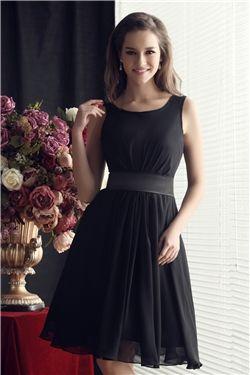 Scoop Neckline A Line Knee Length Dress