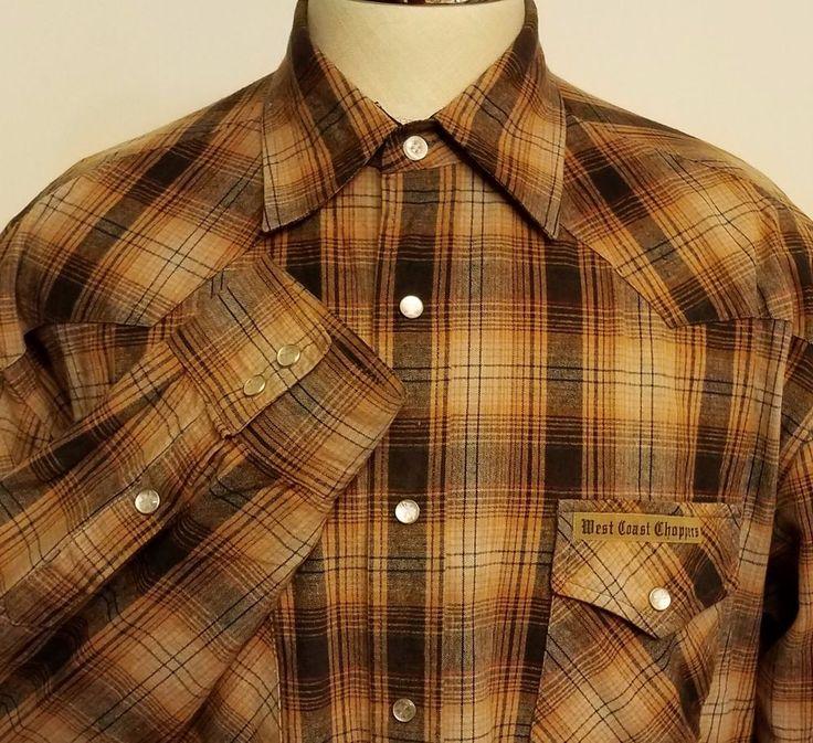 West Coast Choppers Workwear Pearl Snap Western Shirt Plaid Cotton Size Large #WestCoastChoppers #WesternWorkwear