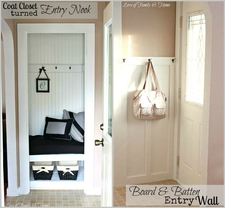 A small closet is transformed into an entry nook with board & batten wall.  Great idea for a small space!