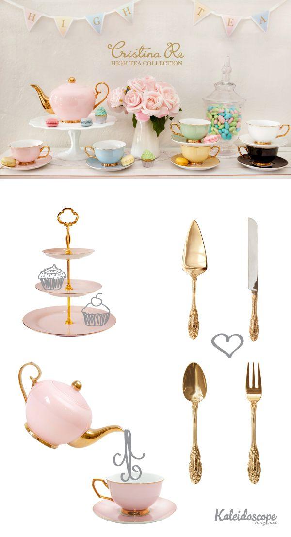 Cristina Re // High Tea Collection 24 carat gold plated tea set, cutlery and serving ware. Kaleidoscope Blog