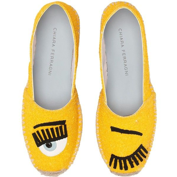 Chiara Ferragni Glitter Flirting Espadrilles (Yellow) Women's Shoes (€220) ❤ liked on Polyvore featuring shoes, sandals, yellow, yellow loafers, platform espadrilles, leather sandals, leather platform sandals and embellished sandals