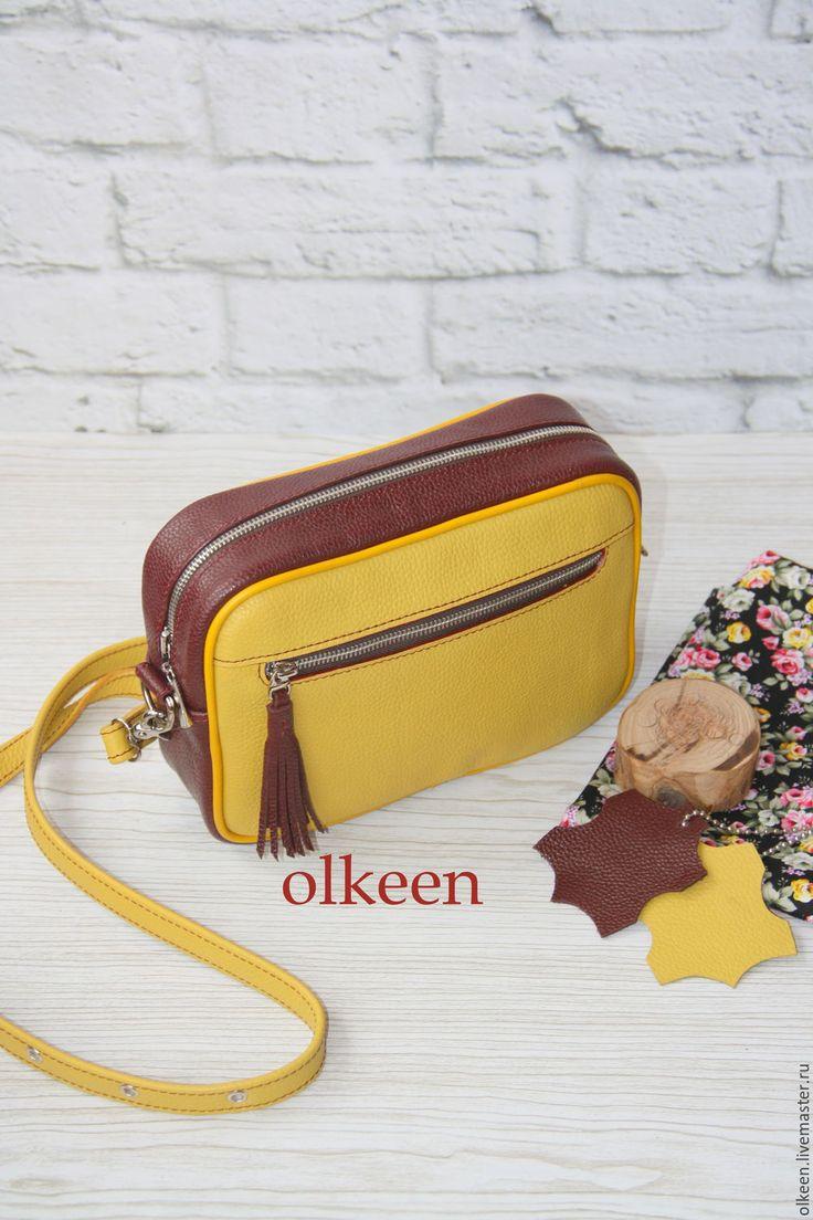 Купить Кожаная сумка кроссбоди Kerry горчичная - горчичный, желтый, сумка, сумка кожаная
