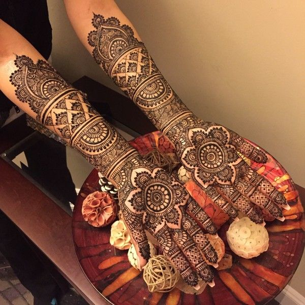 Elaborate Mehndi Design on Arms http://www.maharaniweddings.com/gallery/photo/88644