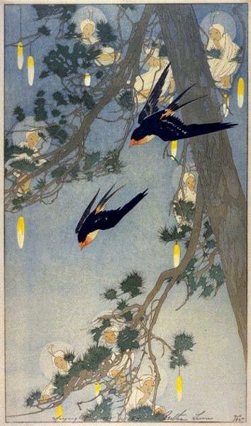 Bertha Lum (American, 1869-1954). Land of the Bluebird. 1916.