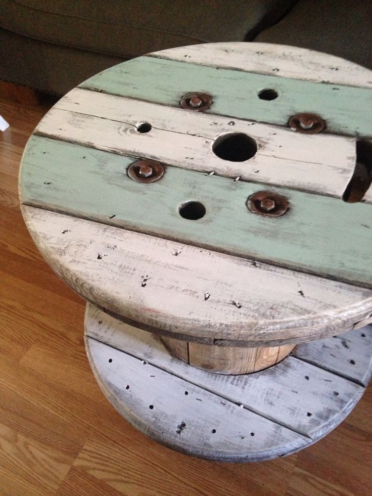 Wire spool turned coffee table on Wheels!!~ dusted off Pretty, Facebook