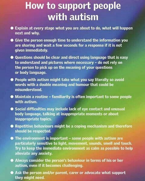 Helpful tips when working with individuals with autism. Apply the principles when engaging in therapy.. Autism awareness