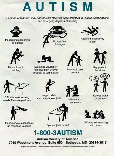 autism information poster from autism society of america