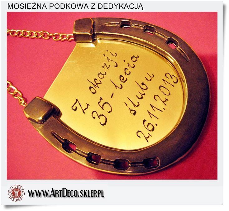 35 Lecie Ślubu, prezent symboliczna pamiątka -  Mosiężna podkowa z odręczną dedykacją
