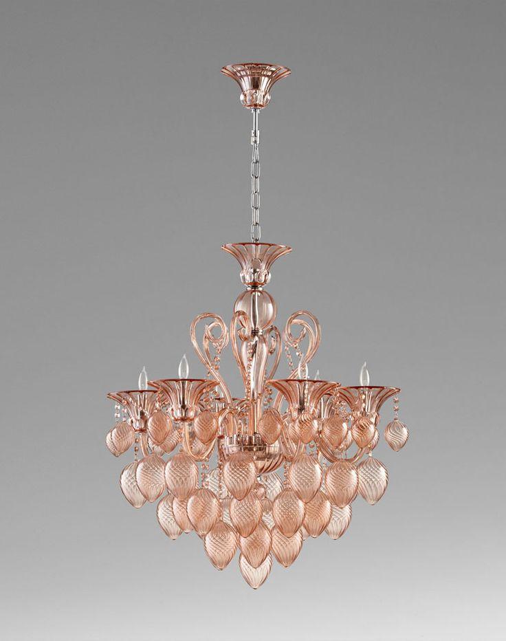 Blush bella vetro chandelier by cyan designs