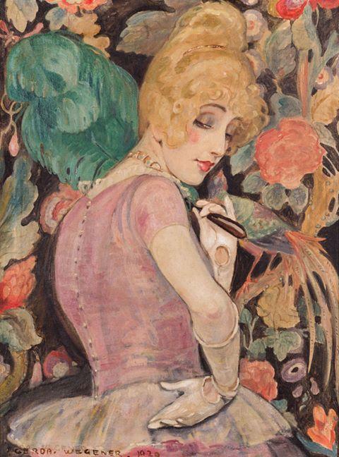 Gerda Wegener (Danish illustrator and painter) 1886 - 1940 aka Gerda Gottlieb Wegener Porta Lili med Fjervifte (Lili with Feather Fan), 1920