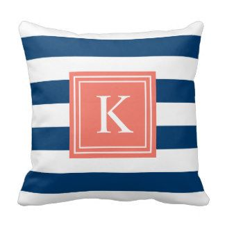 Coral u.  Navy Monogram Striped | Decorative cushions