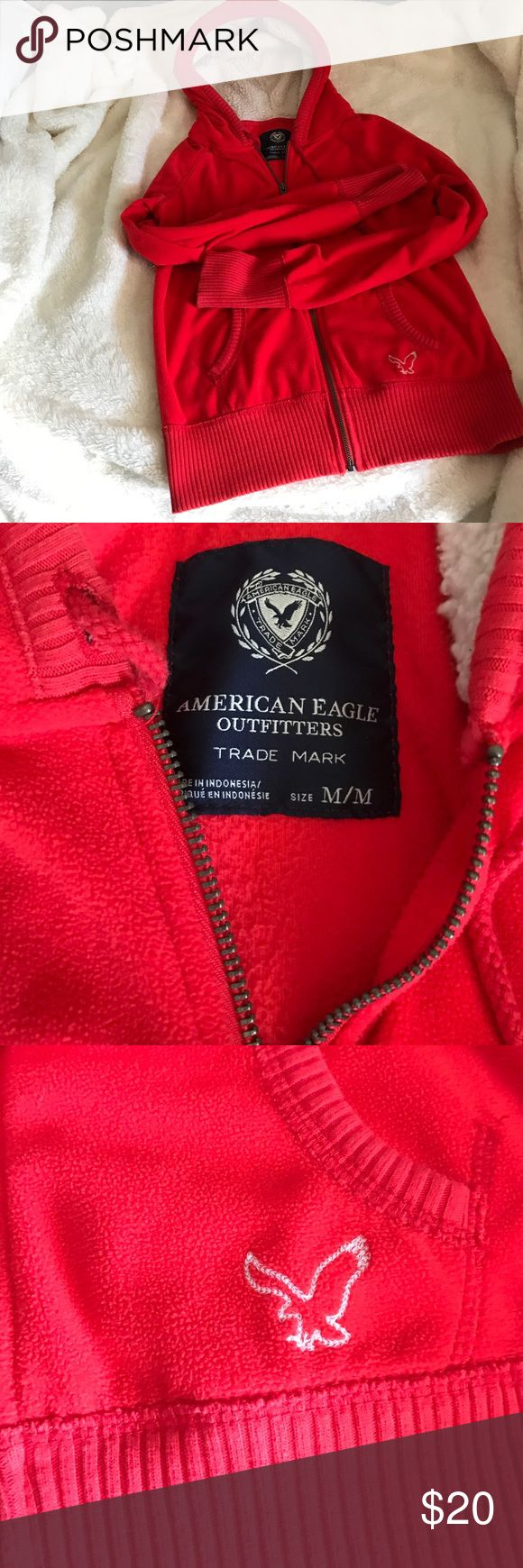 American Eagle hoodie Preloved soft red hoody 💕 American Eagle Outfitters Sweaters