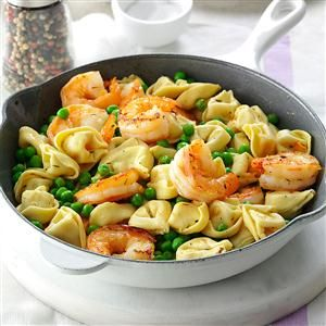 Shrimp Tortellini Pasta Toss Recipe -No matter how you toss 'em up, shrimp and thyme play nicely with any spring-fresh vegetable. —Taste of Home Test Kitchen