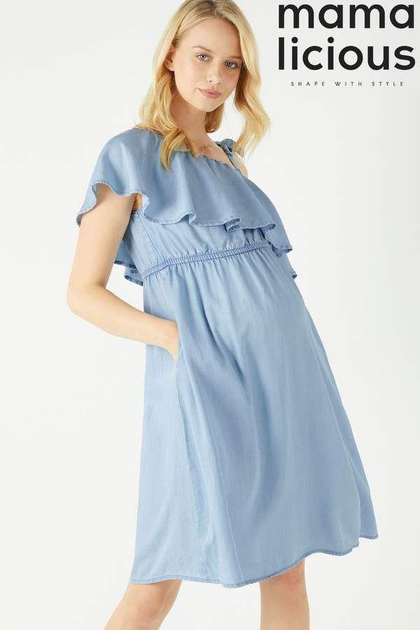 19f6c1afb4944 Womens Mamalicious Maternity Nesli Woven Dress - Blue | Global ...