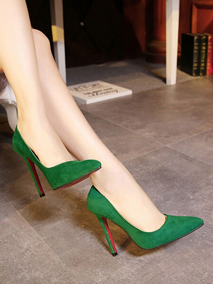 Shop Green Pointed High Heeled Pumps from choies.com .Free shipping Worldwide.$43.19