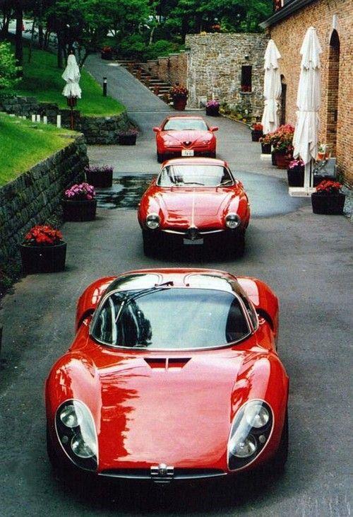 asaucerfulofwheels:  1995 Alfa Romeo GTV 1963 Alfa Romeo Giulia 1600 Sprint Speciale 1967 Alfa Romeo Tipo 33 Stradale