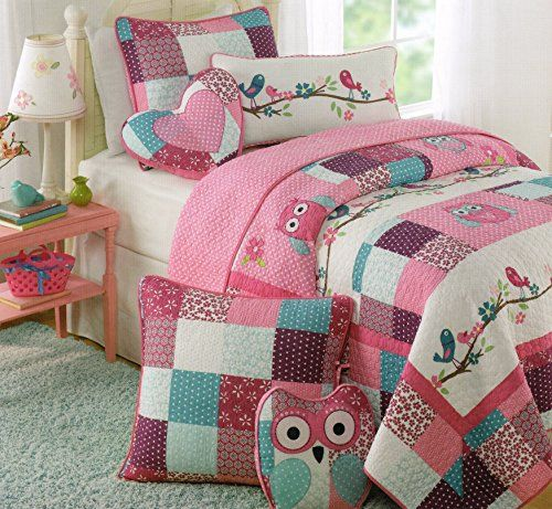Toddler Bedding Set Owl Birds 3pc Quilt Set Turquoise