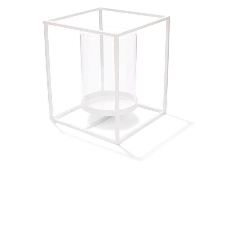 metal Lantern 20cm White gardeners Choice