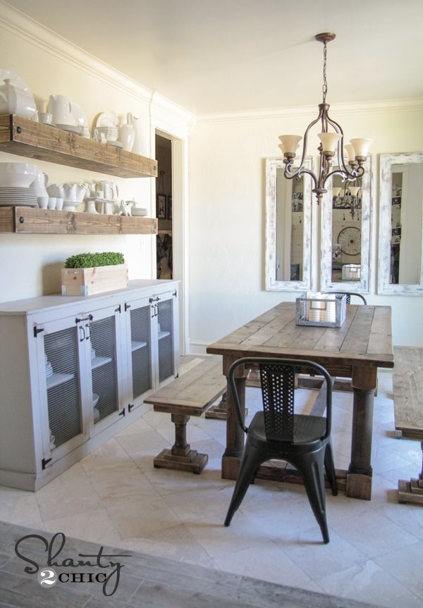 DIY Dining Table and Benches - Free plans and tutorial by www.shanty-2-chic.com