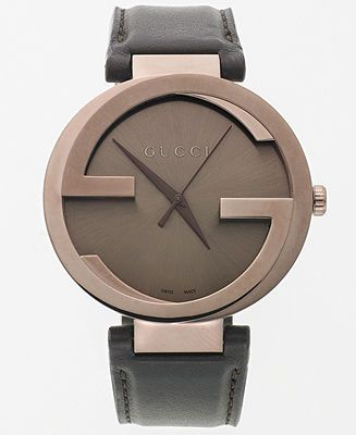 "Gucci's iconic ""G"" logos are in full display on this handsome Interlocking collection watch. 
