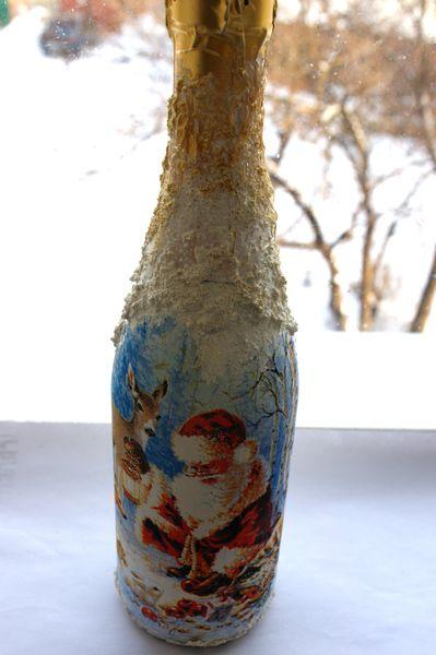 декупаж,мастер класс,новогоднее шампанское,имитация снега,инея,самодельная паста имитирующая снег,декупаж бутылки,Новый год,декорирование бутылок,новогодний декупаж,новогодний декор