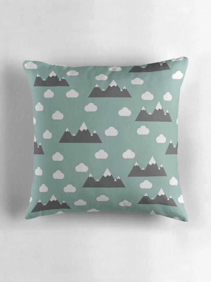 Green clouds cushion, Mountain cushion, Mountains nursery decor, Green nursery decor, Blue nursery cushion, Green cushion. Gender neutral by ShadowbrightDesigns on Etsy https://www.etsy.com/uk/listing/550058836/green-clouds-cushion-mountain-cushion