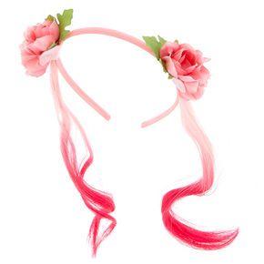 Claire s Club Faux Hair Floral Headband - Pink ef4ed098a6e