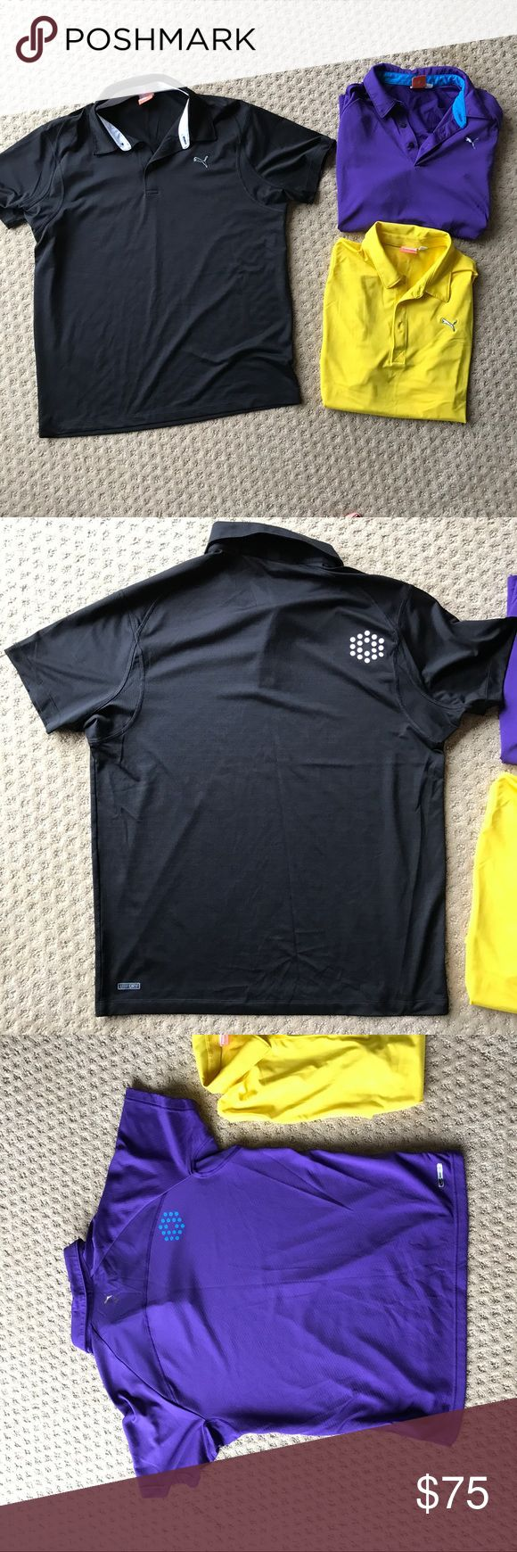Set of 3 Puma Dry fit Golf Polo Shirts Set of Three puma golf shirts. In like new condition. No flaws or signs of wear. Black, yellow, and purple polos. Shirts say USPDRY on them. Puma Shirts Polos