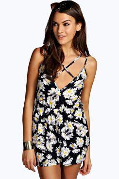 Selma Daisy Print Strappy Playsuit