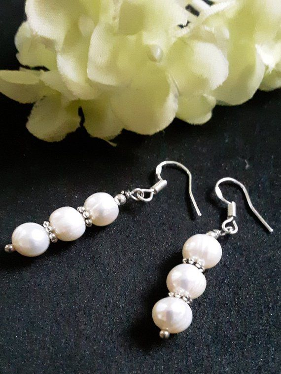 b8acabf74 Sterling Silver plated Hook style,Natural,genuine 7-8mm freshwater White  Pearls,silver bead,dangle drop Earrings