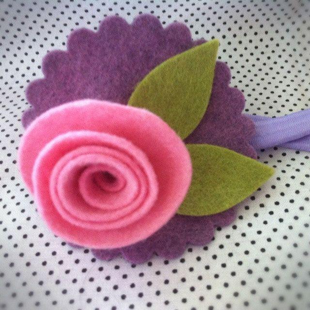 pink rose felt flower headband - hair accessory for girls. $10.00, via Etsy.