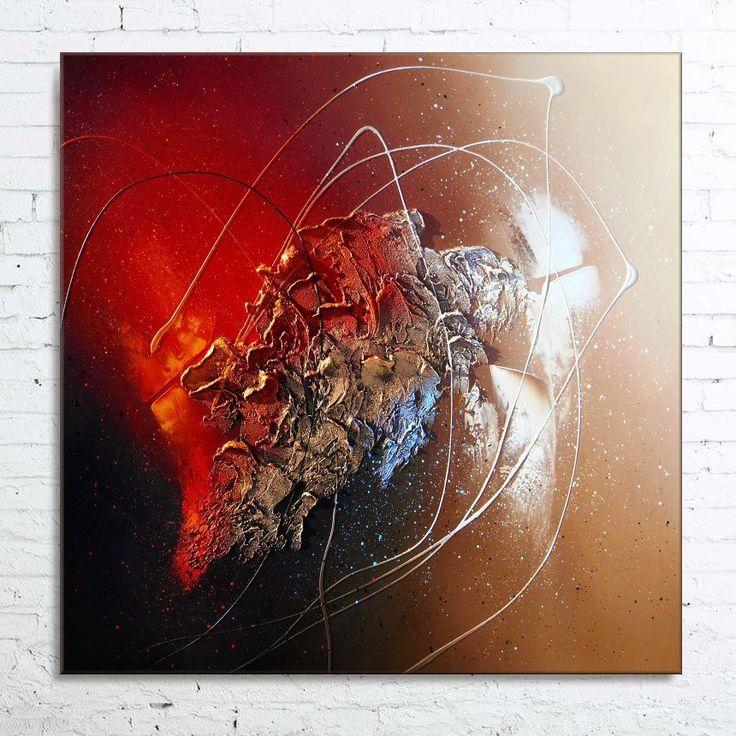 """Tableau abstrait contemporain """"SEDNA"""" toile peinture moderne en relief noir marron rouge cuivre beige"""