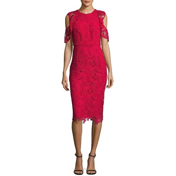 Shoshanna Women's Midnight Cold-Shoulder Lace Midi Dress ($342) ❤ liked on Polyvore featuring dresses, ruby, cold shoulder midi dress, short sleeve midi dress, lace cocktail dresses, pink ruffle dress and pink lace dresses
