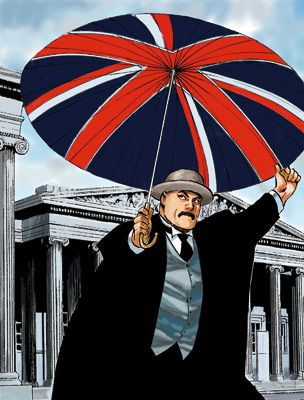 Professor Munakata poses in front of the British Museum © Hoshino Yukinobu, Hokkaido Shimbun  www.britishmuseum.org