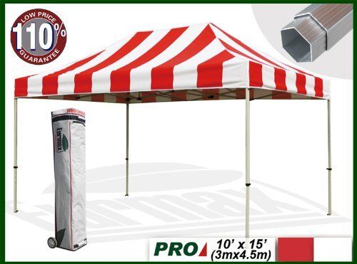 "Eurmax Profession Ez Pop up Canopy with Wheeled Bag (15x10 Feet, Red/white) by eurmax. $599.95. Commercial grade Alumium frame with2.2''hexagonal leg. Super wheeled bag with 4.7""  wheels,The best in the market, easy to handle even on rough ground. 600D polyester top,99% UV Pretection and UPF50+ rated, CPAI-84 fire retardant certification. This10' x 15' instant shelter canopy with adjustable legs sets up in seconds. It is ideal for commercial or recreational use (small ..."