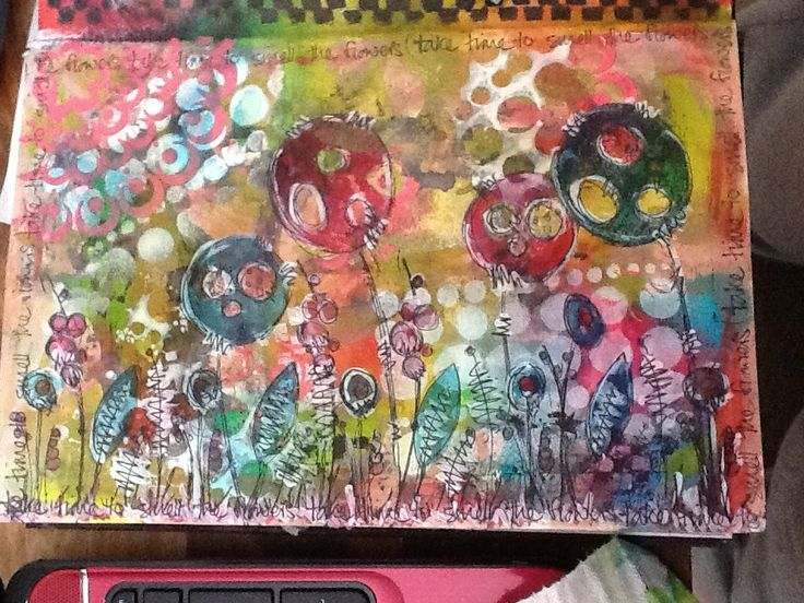 Journal page, using paints, dylusion inks and JOFY stamps from PaperArtsy