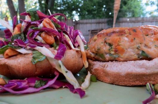 thai peanut turkey burgers - tons of thai peanut flavor and lean protein. my new training food!