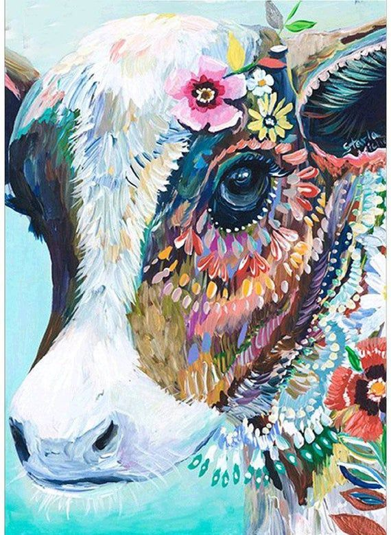 USA Store. Paint by Number Kit Cow with Flower Jewelry