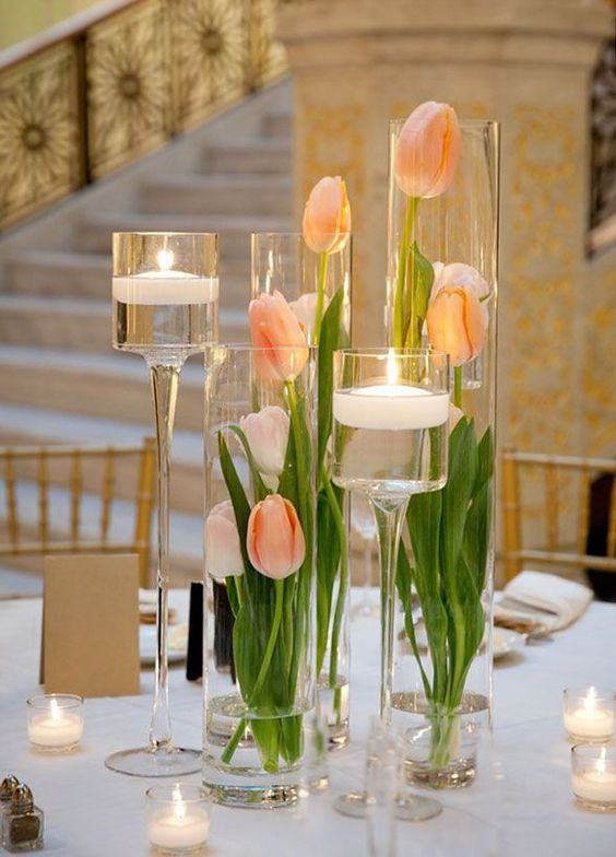 Peach tulips for a peach, white and green elegant and simple centerpiece at this Chicago wedding. Photography: Gerber +Scarpelli Photography. Vale of Enna flowers.