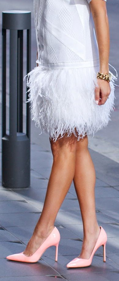 Robert Rodriguez White Feather Smooth Feather Skirt Drop Waist Dress by Hello Fashion