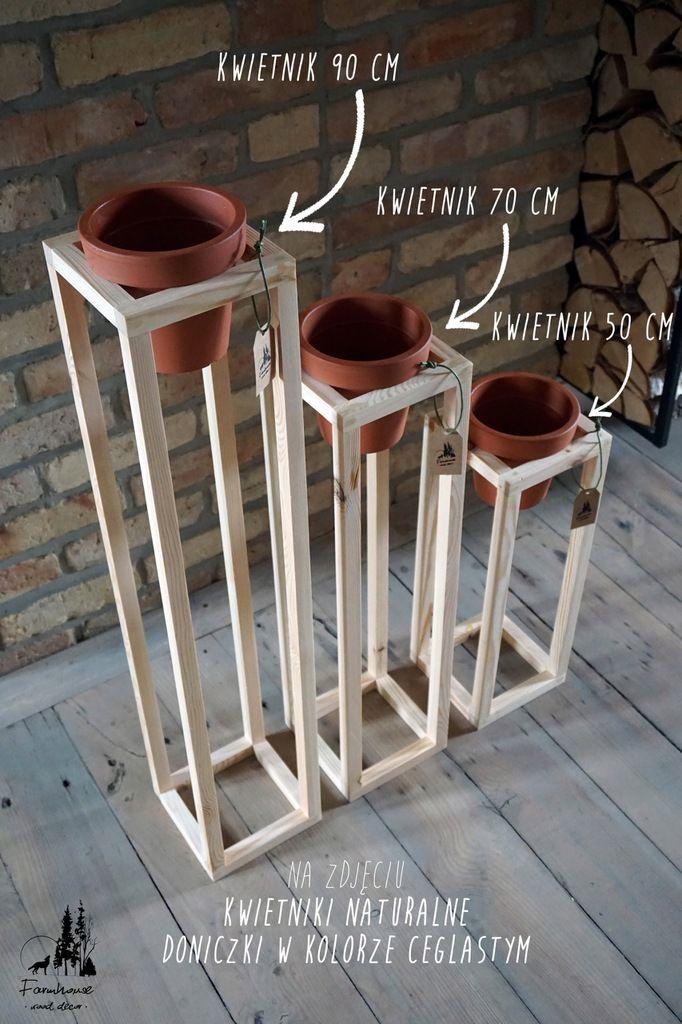 Kwietnik Drewniany 50 Cm Z Doniczka W Zestawie 7499625893 Oficjalne Archiwum Allegro Wood Plant Stand Diy And Crafts Garden Crafts